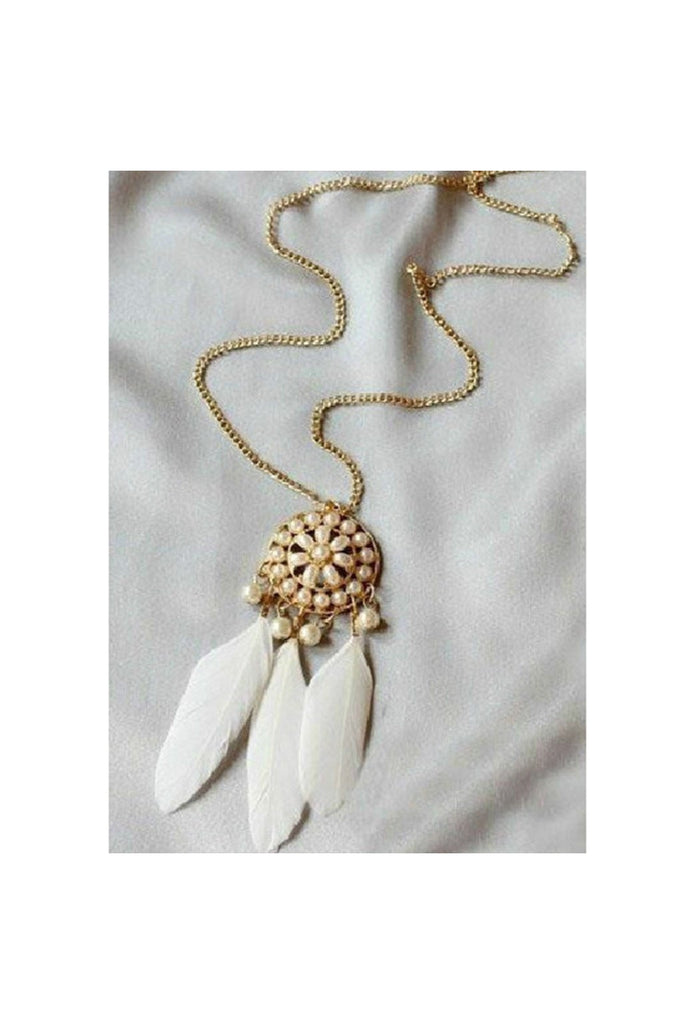 White Pearl Feather Necklace-NECKLACE-Fierce Finds Mobile Boutique