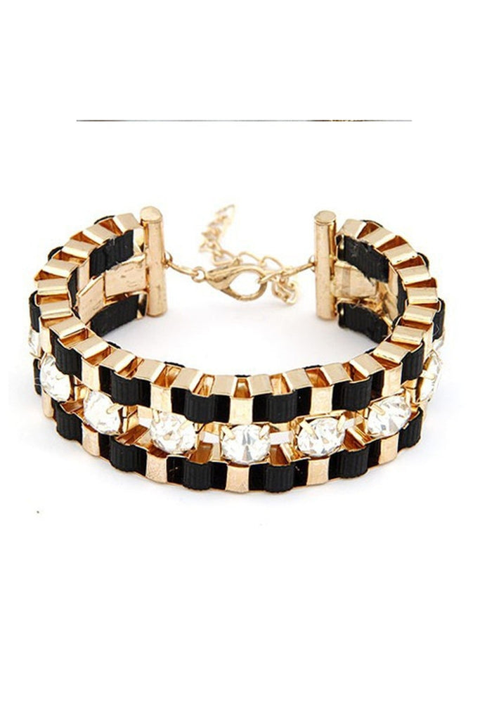 Wide Hand Woven Gold Bracelet - Fierce Finds Mobile Boutique  - 1
