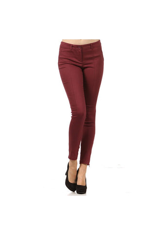 Wine Stretch Crop Pant - Fierce Finds Mobile Boutique  - 1