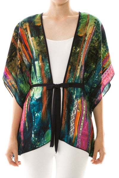 Colorful Print Self-Tie Cardigan - Fierce Finds Mobile Boutique  - 2
