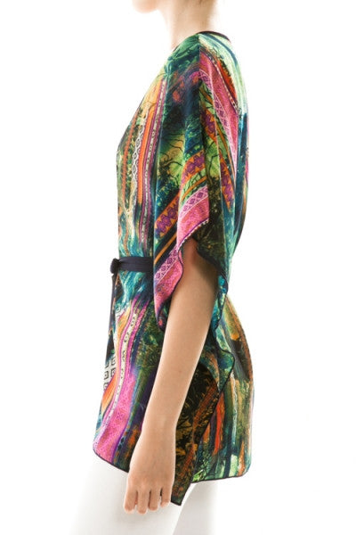 Colorful Print Self-Tie Cardigan - Fierce Finds Mobile Boutique  - 3