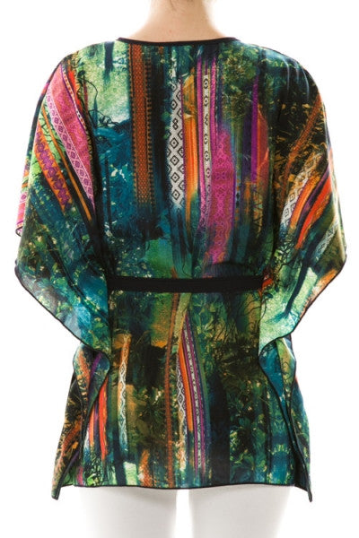 Colorful Print Self-Tie Cardigan - Fierce Finds Mobile Boutique  - 4