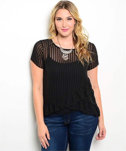 Sheer Stripe Plus Size Top - Fierce Finds Mobile Boutique  - 2