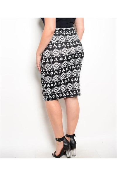 Black & White Plus Size Skirt - Fierce Finds Mobile Boutique  - 3