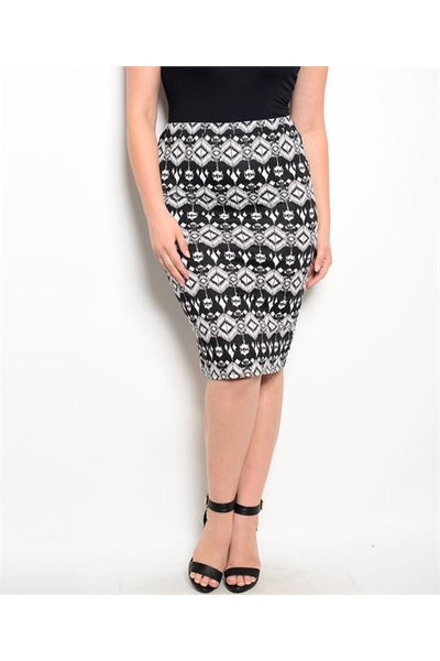 Black & White Plus Size Skirt - Fierce Finds Mobile Boutique  - 2