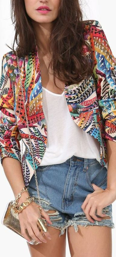 Feather Print Blazer - Fierce Finds Mobile Boutique  - 2