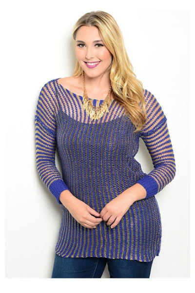Blue Metallic Sweater - Fierce Finds Mobile Boutique  - 2
