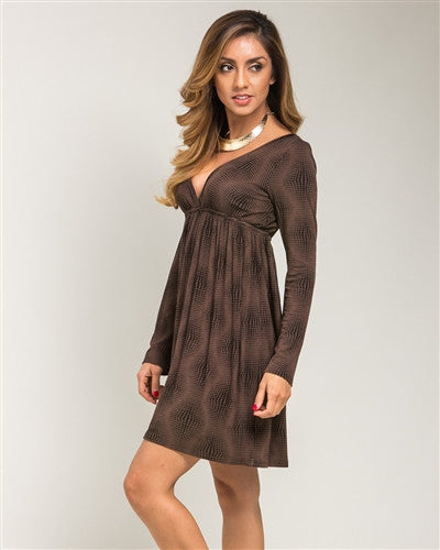 Brown Empire Waist Day Dress - Fierce Finds Mobile Boutique  - 1