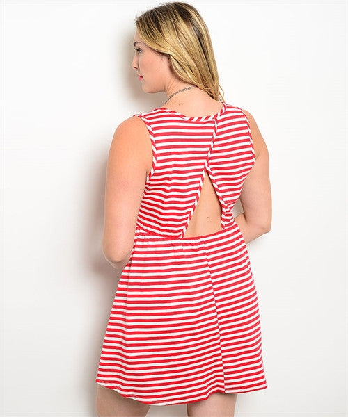 Candy Stripe Plus Size Dress - Fierce Finds Mobile Boutique  - 3