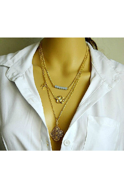 Layered Clover Necklace - Fierce Finds Mobile Boutique  - 3