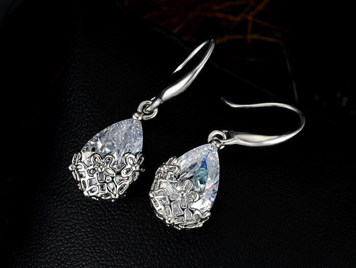 Daisy Overlay Crystal Earrings-EARRINGS-Fierce Finds Mobile Boutique