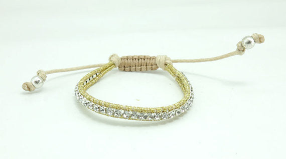 Small Silk Wrapped Crystal Bracelet - Fierce Finds Mobile Boutique  - 2