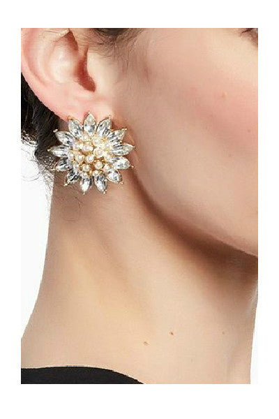 Oversized Daisy Crystal Earrings - Fierce Finds Mobile Boutique  - 2