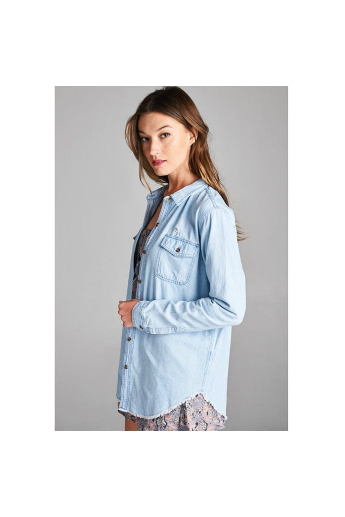 Denim Button-Up Top - Fierce Finds Mobile Boutique  - 1