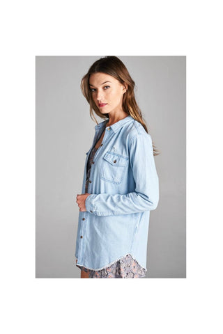 Denim Button-Up Top-Women - Apparel - Shirts - Longsleeves-Fierce Finds Mobile Boutique