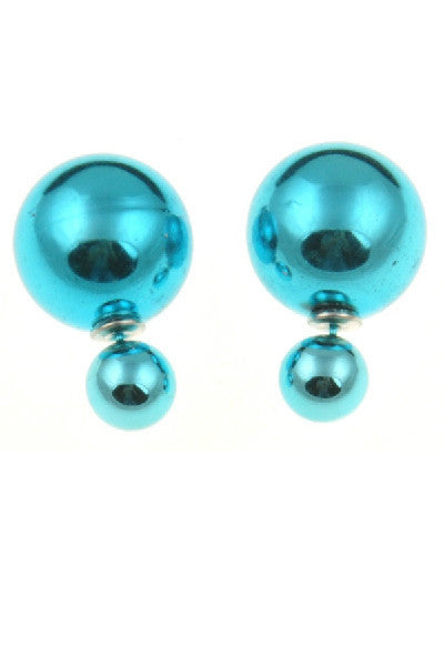 Metallic Double Pearl Studs - Fierce Finds Mobile Boutique  - 2