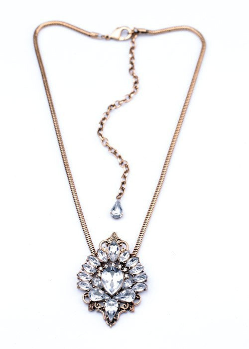 Crystal Antique Gold Necklace - Fierce Finds Mobile Boutique  - 2
