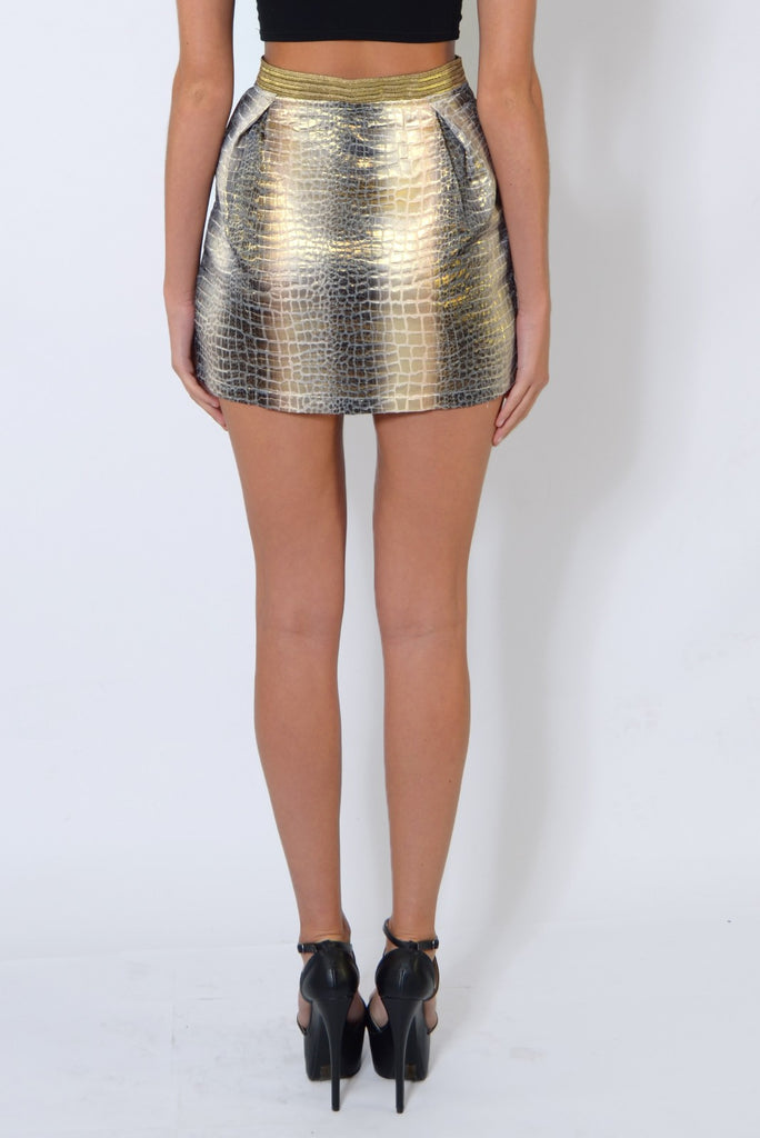 Gold Textured Snake Print Skirt - Fierce Finds Mobile Boutique  - 6