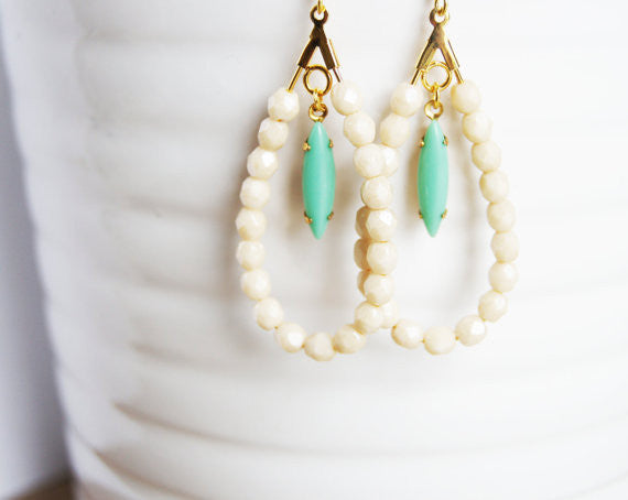 Handcrafted Mint and Ivory Earrings - Fierce Finds Mobile Boutique  - 2