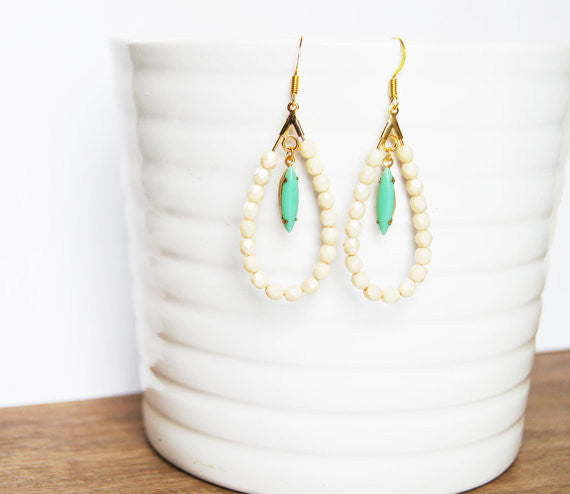 Handcrafted Mint and Ivory Earrings - Fierce Finds Mobile Boutique  - 6