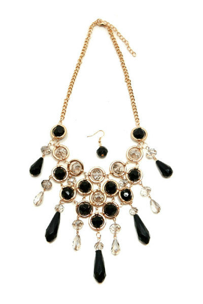 Black & Gold V Drop Necklace - Fierce Finds Mobile Boutique  - 2