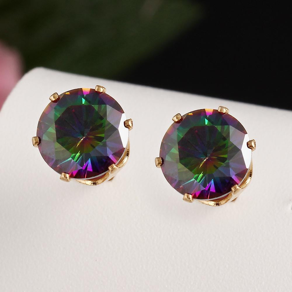 Rainbow Crystal Stud Earrings - Fierce Finds Mobile Boutique  - 7
