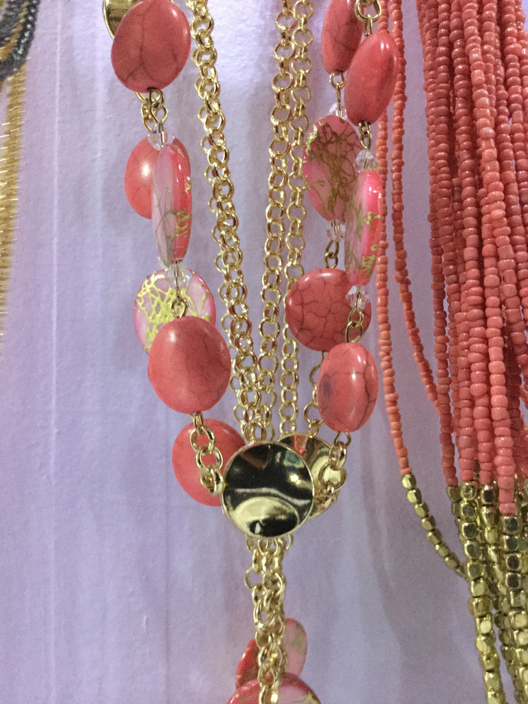 Coral Circles Necklace - Fierce Finds Mobile Boutique  - 2