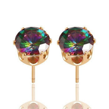 Rainbow Crystal Stud Earrings - Fierce Finds Mobile Boutique  - 2