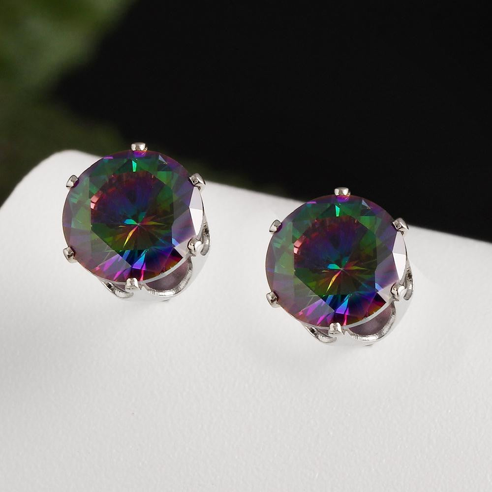 Rainbow Crystal Stud Earrings - Fierce Finds Mobile Boutique  - 6