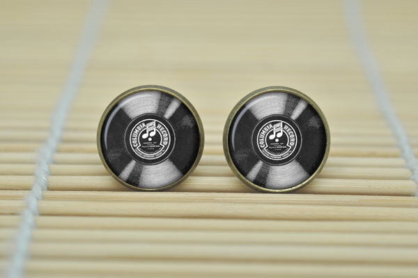 Glass Button Record Stud Earrings - Fierce Finds Mobile Boutique  - 2
