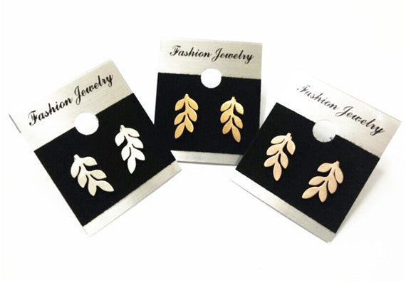 Small Leaf Stud Earrings-Stainless Steel - Fierce Finds Mobile Boutique  - 2