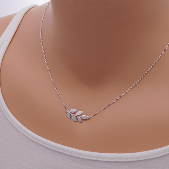 Small Leaf Necklace -Stainless Steel - Fierce Finds Mobile Boutique  - 3
