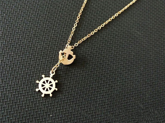 Anchor & Wheel Necklace - Stainess Steel - Fierce Finds Mobile Boutique  - 2