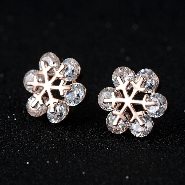 Snowflake Crystal Stud Earrings - Fierce Finds Mobile Boutique  - 2