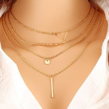 Layered Triangle Dainty Necklace - Fierce Finds Mobile Boutique  - 2