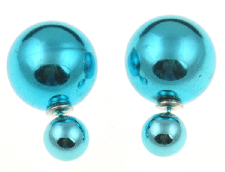 Metallic Double Pearl Studs - Fierce Finds Mobile Boutique  - 3