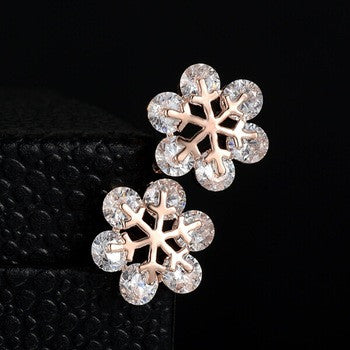 Snowflake Crystal Stud Earrings - Fierce Finds Mobile Boutique  - 4