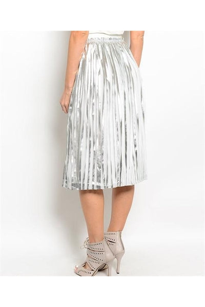 Pleated Metallic Midi Skirt - Fierce Finds Mobile Boutique  - 3