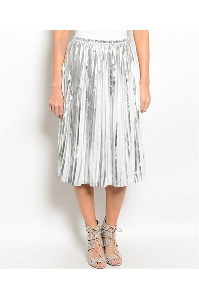 Pleated Metallic Midi Skirt - Fierce Finds Mobile Boutique  - 2