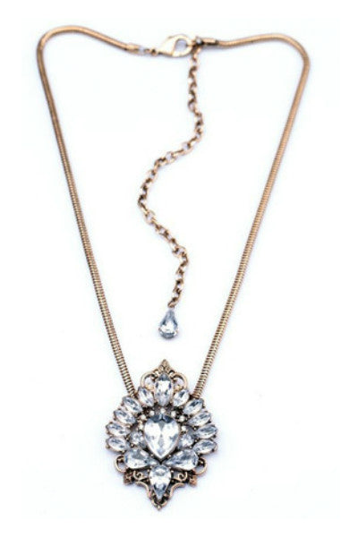 Crystal Antique Gold Necklace - Fierce Finds Mobile Boutique  - 3
