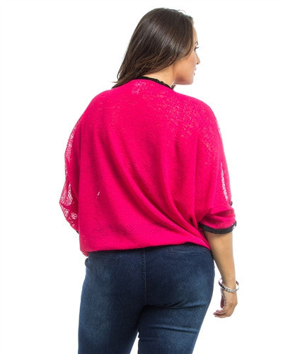 Pink Dolman Sheer Plus Size Top - Fierce Finds Mobile Boutique  - 4
