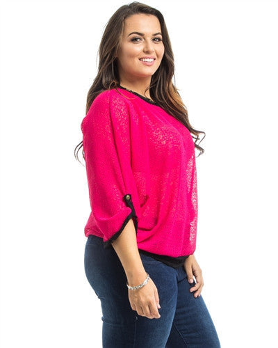 Pink Dolman Sheer Plus Size Top - Fierce Finds Mobile Boutique  - 2