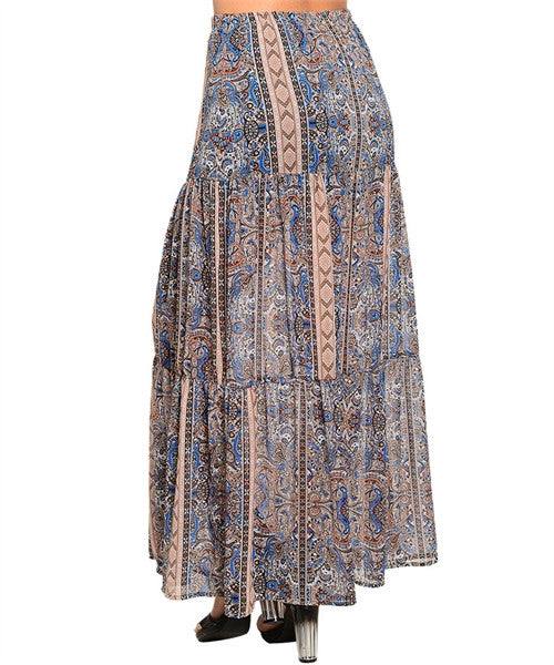 Boho Blue Maxi Skirt - Fierce Finds Mobile Boutique  - 3