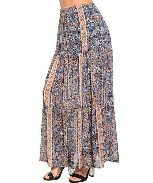 Boho Blue Maxi Skirt - Fierce Finds Mobile Boutique  - 1