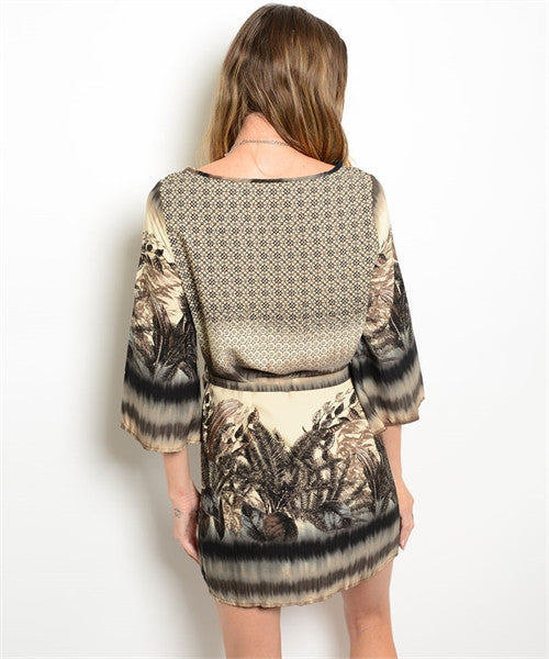 Feather Print Tunic Dress - Fierce Finds Mobile Boutique  - 1