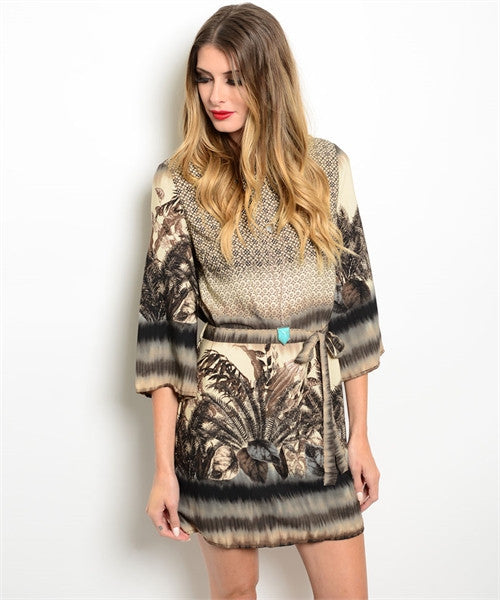 Feather Print Tunic Dress - Fierce Finds Mobile Boutique  - 2