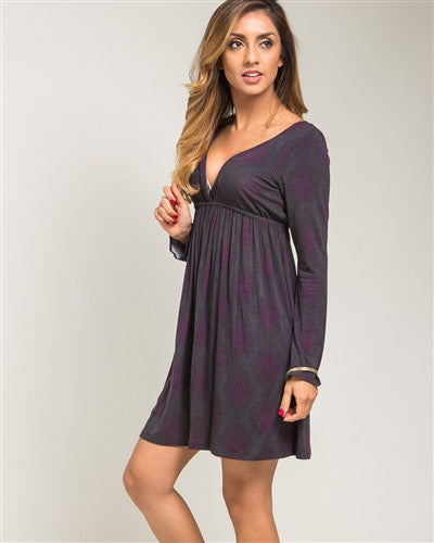 Purple Empire Waist Day Dress - Fierce Finds Mobile Boutique  - 1