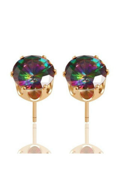 Rainbow Crystal Stud Earrings - Fierce Finds Mobile Boutique  - 3