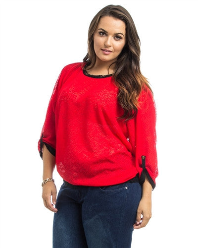 Red Dolman Sheer Plus Size Top - Fierce Finds Mobile Boutique  - 3