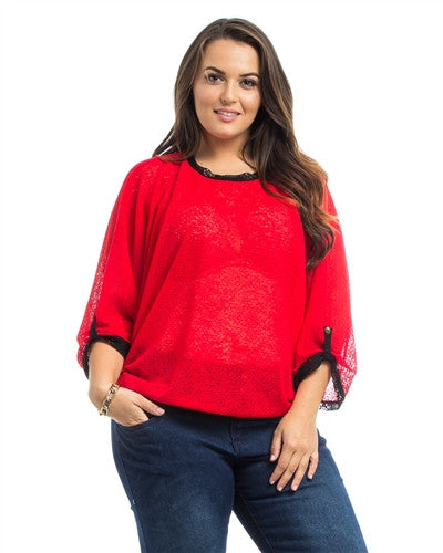 Red Dolman Sheer Plus Size Top - Fierce Finds Mobile Boutique  - 2